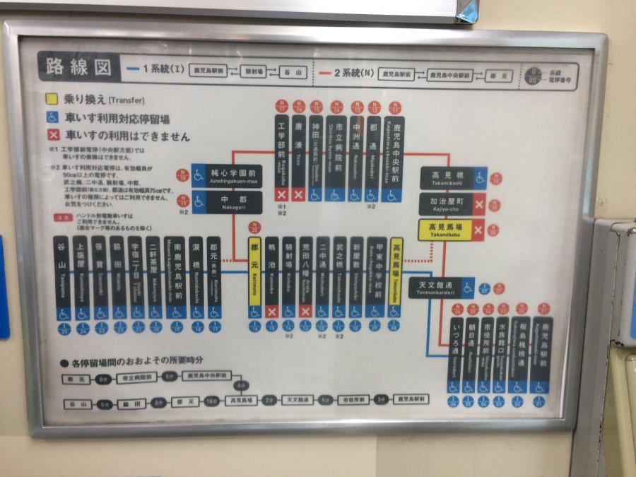 路面電車内に掲示されている路線図