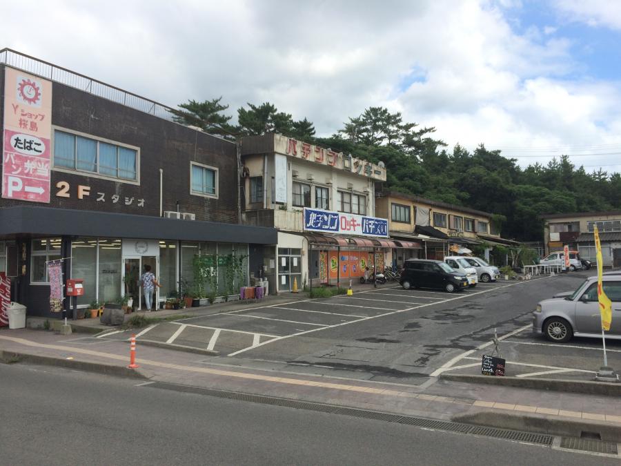 桜島港フェリーターミナルから少し歩いた道路