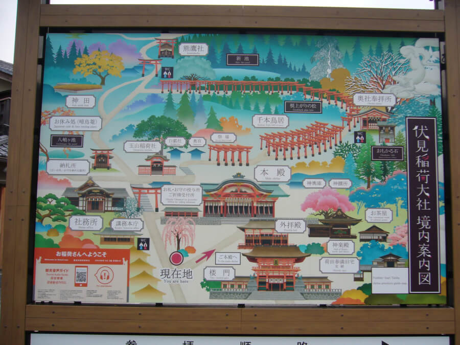 伏見稲荷大社の境内案内図