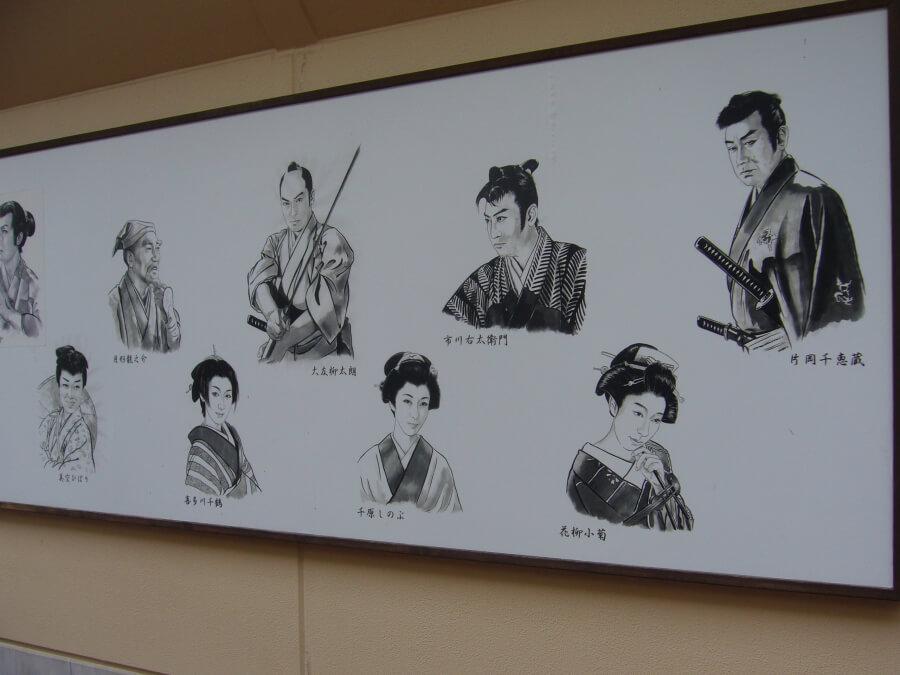 役者が描かれた壁