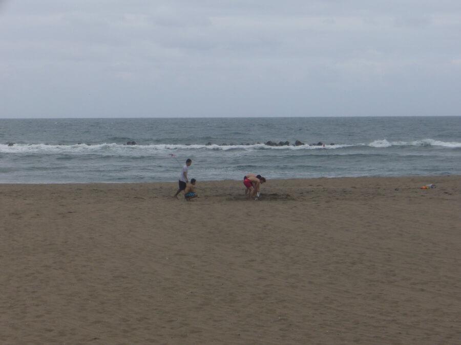 大須賀海岸で遊ぶ人たち