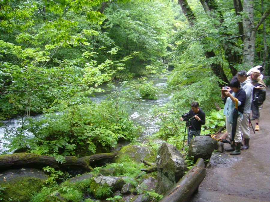 石ケ戸の瀬周辺で写真を撮る人たち