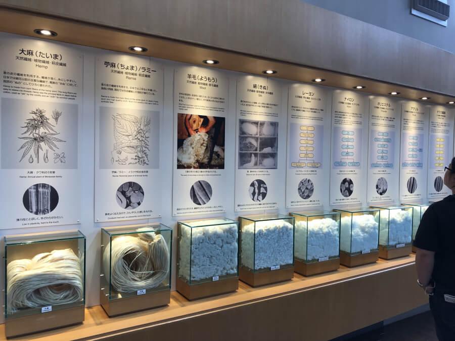 様々な種類の糸の展示