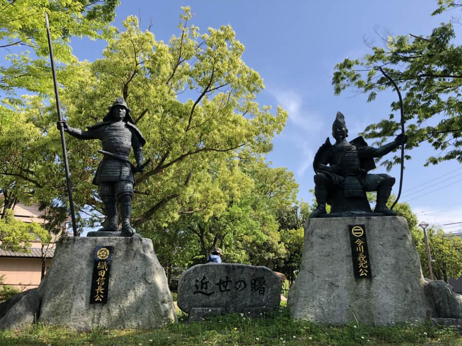 織田信長、今川義元の銅像 桶狭間古戦場公園
