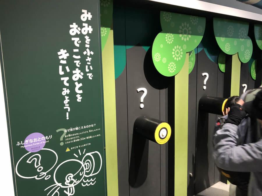 おでこで聞く音|名古屋市科学館の展示室
