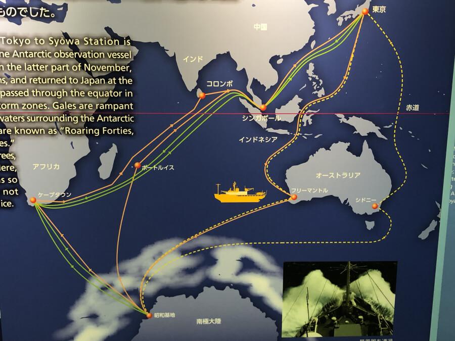 南極観測船ふじの地図